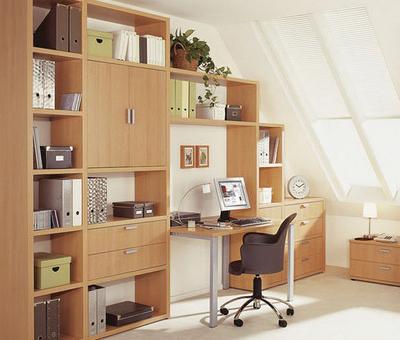 Книжный шкаф со встроенным столом - идеи для дома.